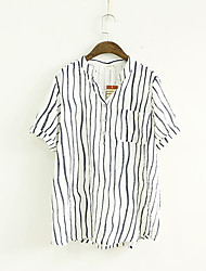 Women's Casual/Daily Simple Summer Blouse,Solid Round Neck Short Sleeve White Cotton / Polyester Thin