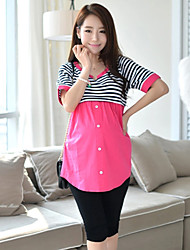 Maternity Round Neck Ruched Blouse,Cotton Short Sleeve