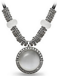 Exquisite Crystal Opal Round Pendant Necklace Jewelry for Lady
