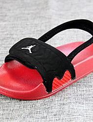 Para Niño-Tacón Plano-Confort / Punta Abierta / Sandalias-Zapatillas y flip-flop-Casual-Microfibra-Negro / Rojo
