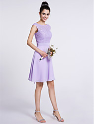 Knee-length Chiffon / Lace Bridesmaid Dress A-line Scoop with Lace