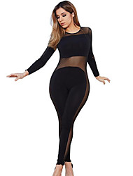 Women's Patchwork Mesh Casual Slim See-through Jumpsuits,Simple / Street chic Round Neck Long Sleeve