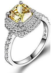 7*7mm Cushion Shape SONA Golden Diamond 2CT Engagement Ring for Women Sterling Silver in Platinum Plated