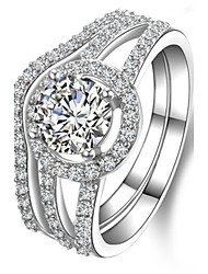 Perfect Match 1CT Round Engagement Ring Diamond Rings Set for Women Sterling Silver Wedding Band Rings