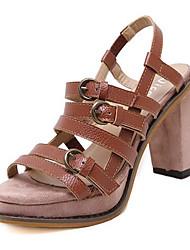 Damen-High Heels-Lässig-PU-BlockabsatzBraun