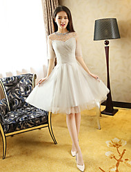 Knee-length Tulle Bridesmaid Dress - Princess Jewel with Beading / Draping