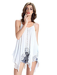 Women's Casual/Daily Sexy Summer Blouse,Solid Strap Sleeveless White / Black Others Sheer