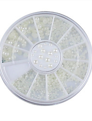 3 Sizes Nail Art White Pearl Rhinestone Decoration Wheel