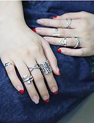 Anéis Fashion Diário / Casual Jóias Feminino Anéis Meio Dedo 1conjunto,7 Prateado