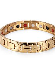 Rainso Brand Stainless Steel Men's Bracelet Gold Plated Energy Healing Magnetic Bracelets Hand Chain Wristband