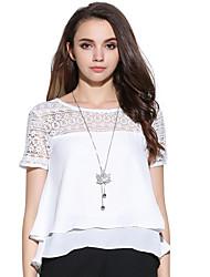 Damen Solide Niedlich Lässig/Alltäglich T-shirt,Rundhalsausschnitt Sommer Kurzarm Weiß Andere Mittel