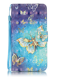 PU Leather Material 3D Painting Gold Butterfly Pattern Phone Case for Huawei P9 Lite