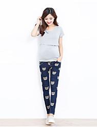 Maternidade Calças Maternidade Jeans Simples Sem Elasticidade Algodão