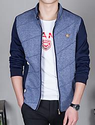 Men's Long Sleeve Casual / Work / Formal / Sport Jacket,Polyester Solid Blue / Red / Beige
