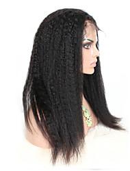 """8 """"-26"""" brasileño recto rizado de color de la peluca del frente del cordón sin cola de cabello natural bebé negro pelo virginal para las"""