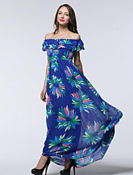 Women's Beach / Plus Size Boho Chiffon Dress,Print Asymmetrical Maxi Sleeveless Blue Spandex Summer