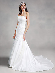 Mermaid / Trumpet Strapless Court Train Lace Satin Wedding Dress with Lace by LAN TING BRIDE®