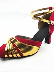 Sapatos de Dança(Vermelho) -Feminino-Personalizável-Latina / Moderna