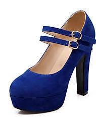 Women's Boots Ankle Strap Fleece Spring Summer Fall Wedding Dress Party & Evening Walking Ankle Strap Buckle Chunky Heel PlatformBlack