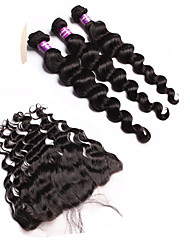 Lace Frontal With Bundles Brazilian Virgin Hair With Closure Loose Curly Wave Ear To Ear 13x4 Lace Frontal With Bundles