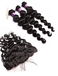 4 Peças Ondulação Larga Tramas de cabelo humano Cabelo Mongol Tramas de cabelo humano Ondulação Larga