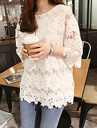 Maternity Round Neck Lace T-shirt,Rayon ¾ Sleeve