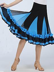 Baile de Salón Pantalones y Faldas Mujer Actuación Licra Drapeado 1 Pieza Sin mangas Cintura Baja Falda