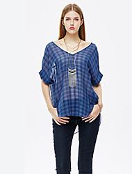 mulheres heartsoul de sair t-shirt simples de verão, xadrez v pescoço ¾ manga azul / poliéster preta fina