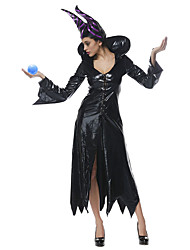 Cosplay Costumes Queen Fairytale Movie Cosplay Black Solid Dress Hat Halloween Christmas New Year Female PU Leather