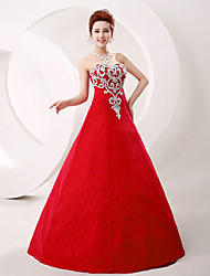Prom Formal Evening Dress - Sparkle & Shine A-line Strapless Floor-length Lace Tulle with Crystal Detailing