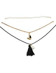 Fashion Women Trendy Stretch Pearl Choker Ship And Tassel Pendant Necklace Set