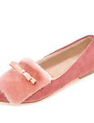 Women's Shoes Fleece Fall / Winter Comfort / Ballerina / Pointed Toe Flats Office  / Casual Flat Heel Feather / Bowknot