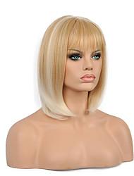 Mujer Pelucas sintéticas Sin Tapa Corto Liso Rubia Pelo Ombre Corte Bob Pelucas para Disfraz