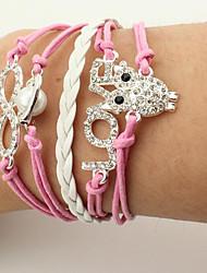 Wrap Bracelets 1pc, Imitation Pearl  Owl Love Infinity Leather Bracelets Fashion Jewelry Friendship Leather Bracelet