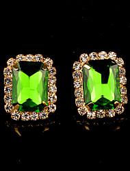 Stud Earrings Women's Brass Earring Crystal / Rhinestone