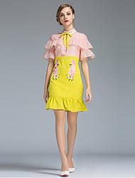 Damen Bodycon Kleid-Ausgehen Einfach Blumen Hemdkragen Mini Kurzarm Gelb Polyester Sommer Hohe Hüfthöhe