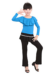 Children's Performance Milk Fiber Ruched 2 Pieces Long Sleeve Natural Top / Skirt Latin Dance Outfits