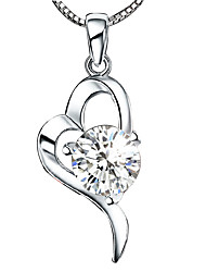 Women's Girls' Pendant Necklaces Heart Silver Sterling Silver Crystal Love Heart Costume Jewelry Jewelry For Wedding Birthday Thank You