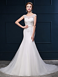 Trumpet / Mermaid Wedding Dress See-Through Court Train Scoop Tulle with Beading Button Sash / Ribbon