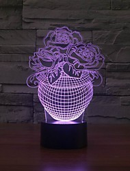 3d Led Table Night Light With Flower Shape as Decoration Color-Changing Night Light