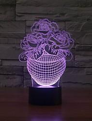 3d conduit la table de nuit avec la lumière en forme de fleur de décoration nuit de changement de couleur de lumière