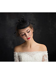 Women's Lace / Feather / Tulle / Flax / Net Headpiece-Special Occasion Fascinators 1 Piece