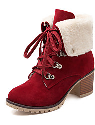 Women's Shoes Fleece Fall/Winter Heels/Round Toe Boots Outdoor/Office & Career/Casual Chunky Heel Black/Yellow/Red