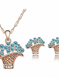 Women's Fashion Crystal Flower Pendant Earrings Set