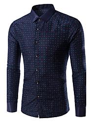 Men's Print Casual / Plus Sizes Shirt,Cotton Long Sleeve Blue