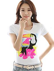 Women's Casual/Daily Simple Summer Blouse,Print Round Neck Short Sleeve White Modal Medium