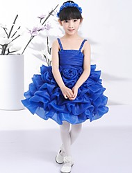 Ball Gown Knee-length Flower Girl Dress - Tulle Spaghetti Straps with Pick Up Skirt
