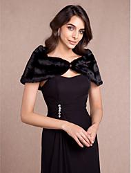 Women's Wrap Capelets Sleeveless Faux Fur Black Wedding / Party/Evening Off-the-shoulder 65cm Button Hidden Clasp