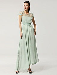 Women's Casual/Daily Simple Sheath / Chiffon Dress,Solid Round Neck Maxi Short Sleeve White / Green Cotton