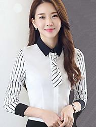 Women's Casual/Daily / Work Simple Fall Shirt,Striped Shirt Collar Long Sleeve White / Black Polyester Medium